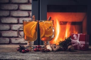 Hot drinks and Christmas decorations -cozy home